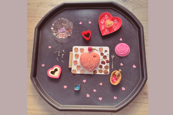 Valentine's Day sensory rose playdough tuff tray activity