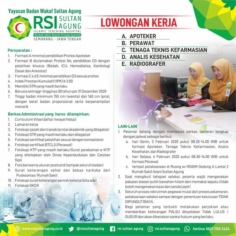 Lowongan Kerja Rsi Sultan Agung Semarang Apoteker Perawat Farmasi Analis Kesehatan Radiografer Loker Swasta