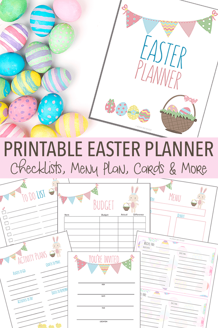 Organize all your Easter activities, menus, projects and more with this printable Easter planner. Includes invitations and thank you cards for your Easter gatherings too! Enjoy your holiday by keeping track of everything with this adorable planner. Easter | Easter Brunch | Easter Dinner | Easter Party | Family Easter | Easter Traditions