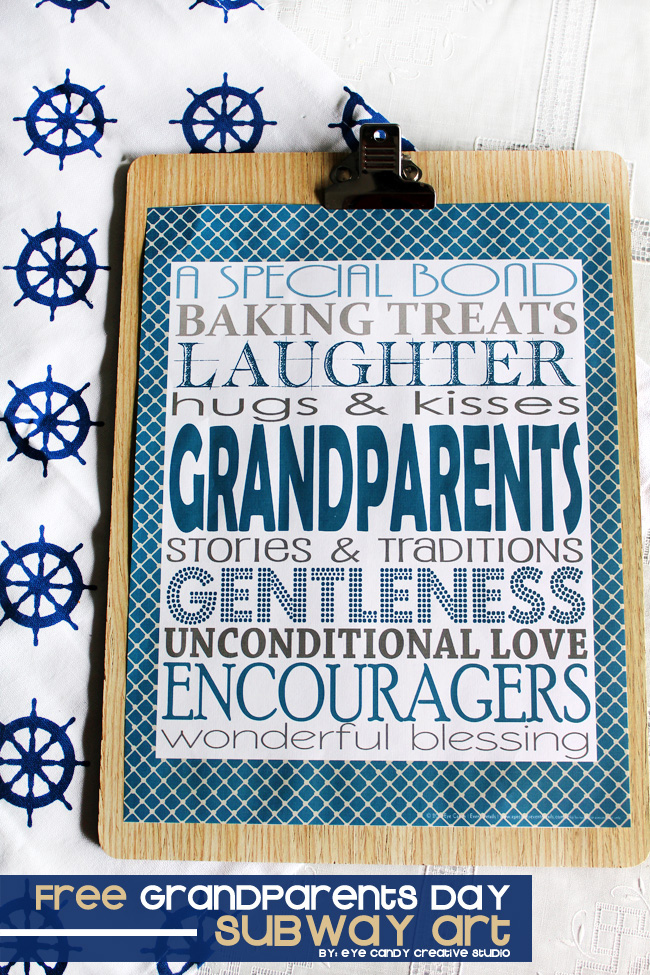 grandparents, gift idea for grandparents day, subway art freebie, nautical