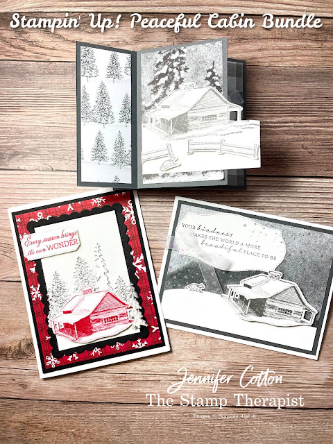 Stampin' Up! Tower Card with Peaceful Cabin Bundle.  To make these three cards, I also used the Snowy White Velvet Sheets, White Glittered Organdy Ribbon, and Peaceful Place Designer Series Paper (DSP).  Video link, measurements, and supply list on blog.  #StampinUp #StampTherapist #PeacefulCabin