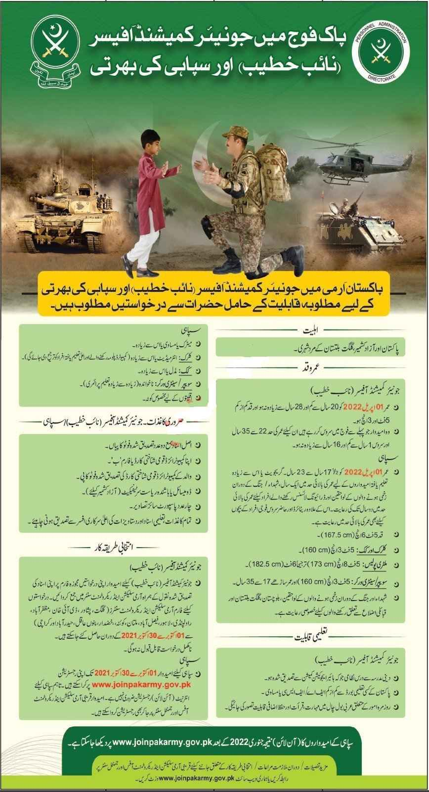 Join Pakistan Army as Junior Commissioned Officer JCO Naib Khateeb and Soldier Jobs 2021