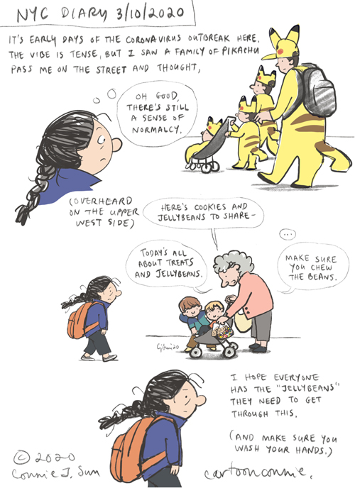 nyc, coronavirus, covid-19, diary, journal comic, pikachu costumes, overheard, comics, sketchbook, illustration, connie sun, cartoonconnie