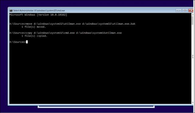 perintah cmd untuk membuat akun baru pada saat installasi windows 10