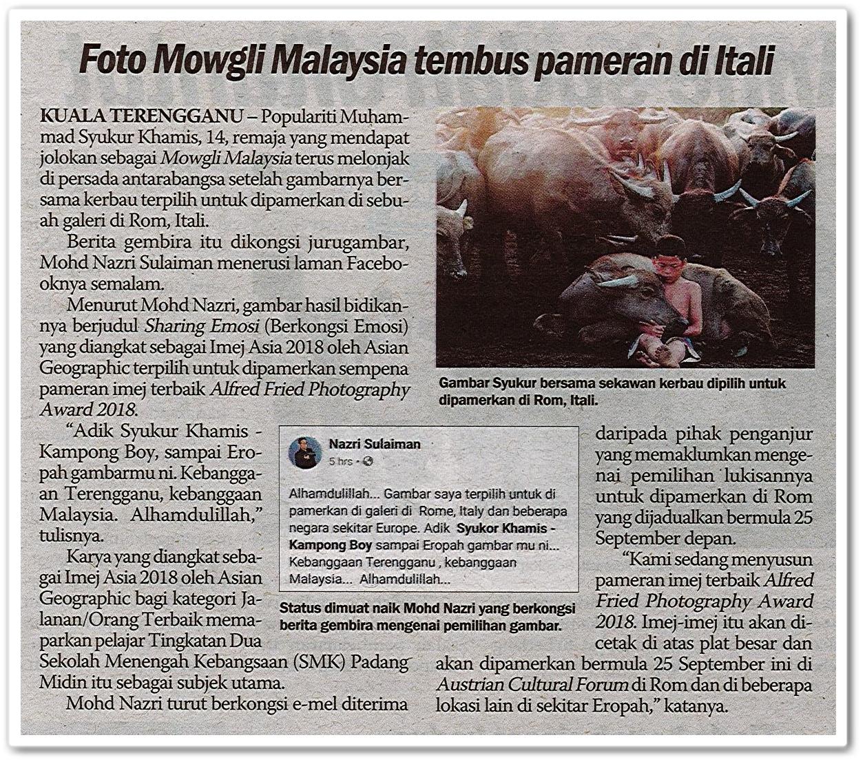 Foto Mowgli Malaysia tembus pameran di Itali - Keratan akhbar Sinar Harian 18 Ogos 2019