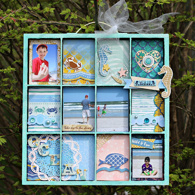 BoBunny Sunday Funday Down By The Sea and Pentart Crackling Paint Altered Tray designed by Rhonda Van Ginkel