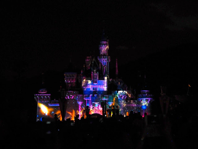 Light display on the Sleeping Beauty Castle for the Disney in the Sky fireworks show | Disneyland Hong Kong