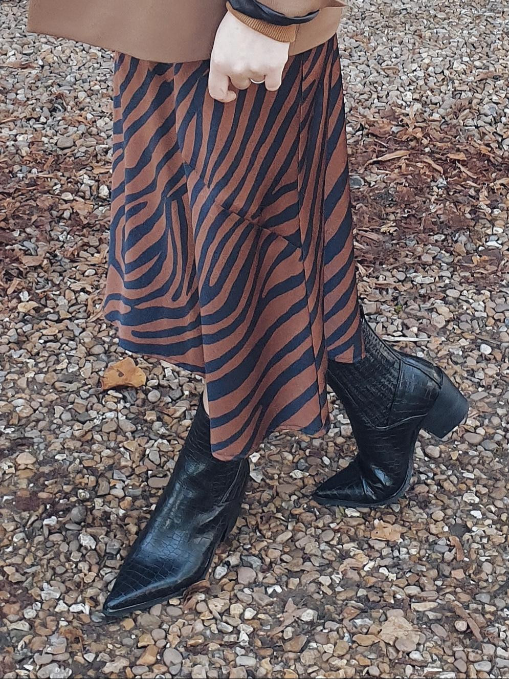 Camel blazer & zebra slip skirt czyli karmelowy total look