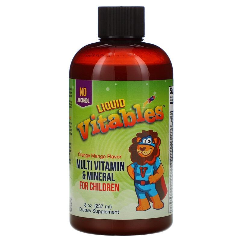 Vitables, Жидкая мультивитаминная и минеральная добавка для детей, без спирта, со вкусом апельсина и манго, 237 мл (8 жидких унций)