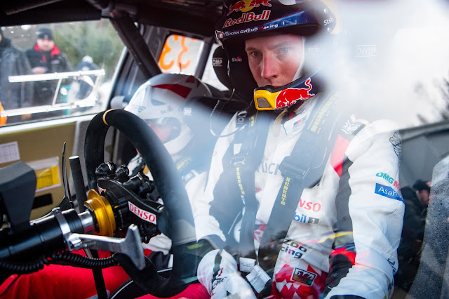 Elfyn Evans Red Bull Rally Driver In Car With Crash Helmet on