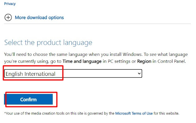 select the custom language and download windows 10 latest ISO