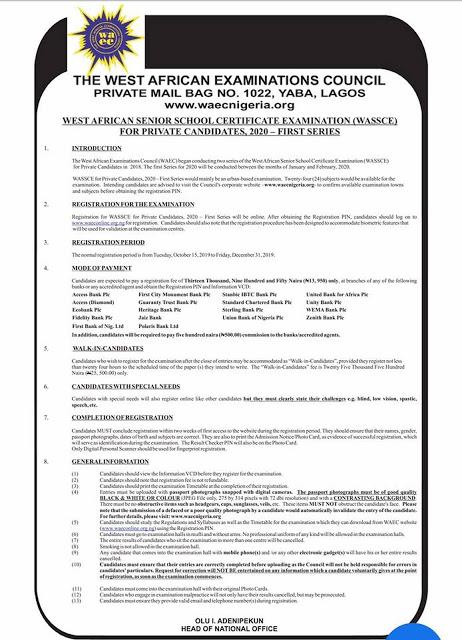 WAEC GCE Registration/Timetable 2020
