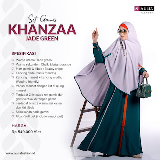Koleksi Gamis Syari Muslimah Khanzaa Jade Green Set Syari by AULIA Fashion