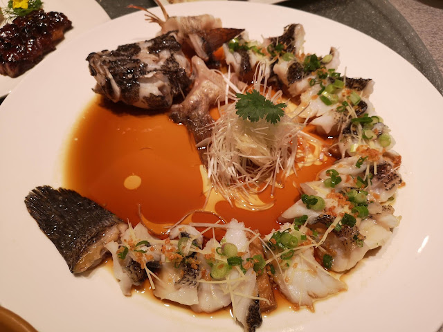 Steamed Live Marble Goby 'Soon Hock' with Garlic and Beancurd Skin