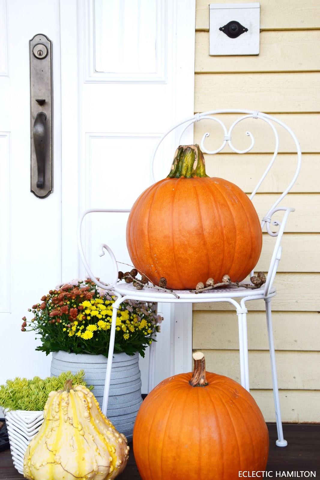 Herbstdeko mit Kürbis und natürlichen Materialien aus dem Wald: Moos, Tannenzapfen. Deko, Dekoration, Kürbis, Mais. Für die Haustüre, Veranda, Terrasse und Balkon