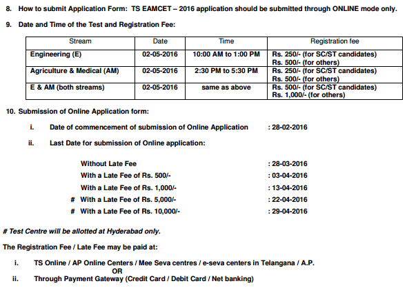 Telangana (TS) EAMCET Notification 2017 Apply Online