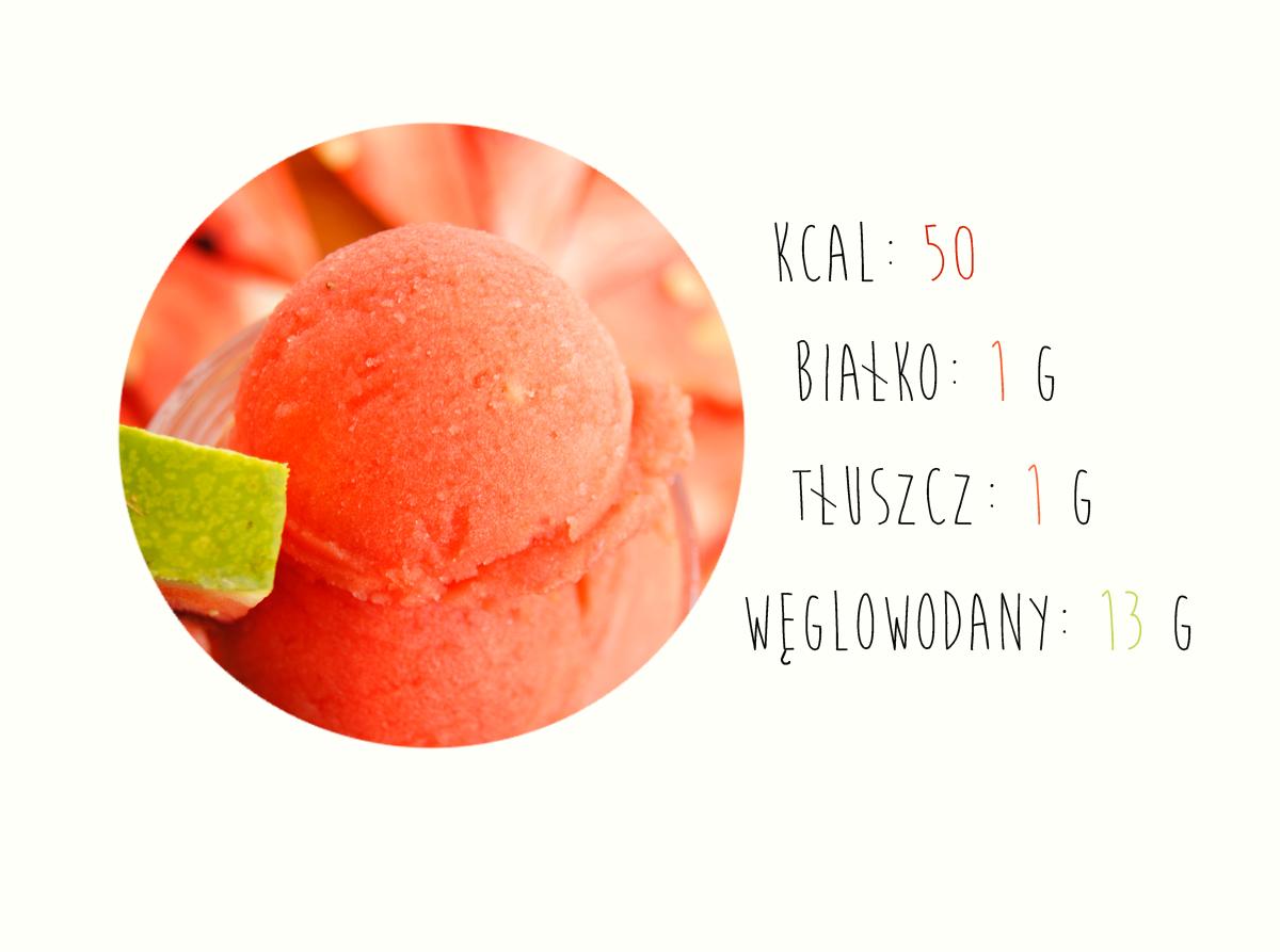 sorbet owocowy, naturalne lody, domowe lody, kalorie, makroskładniki
