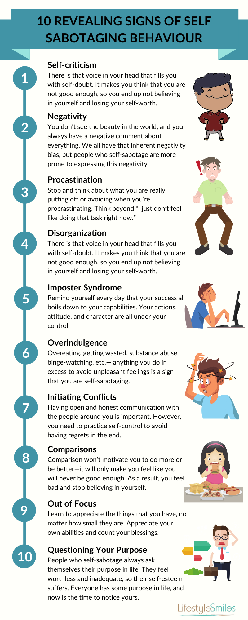 10 Revealing Signs of Self Sabotaging Behavior #infographic #Revealing Signs #Sabotaging Behavior #Behavior #Happiness