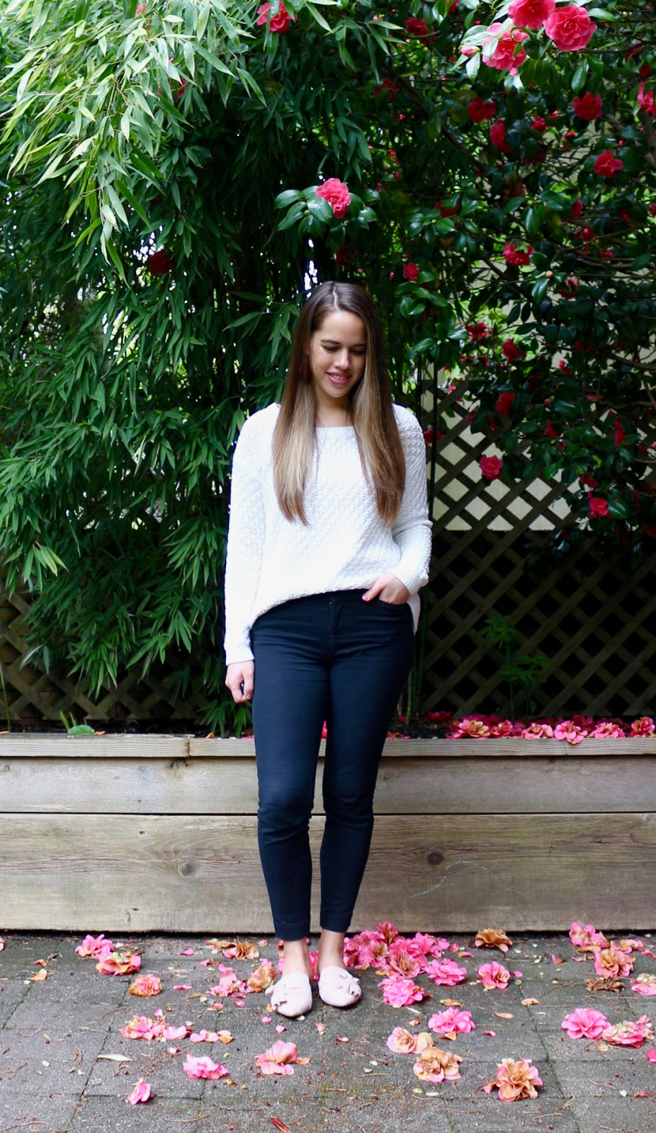 Jules in Flats - Textured Knit Sweater with Ankle Pants (Business Casual Spring Workwear on a Budget)