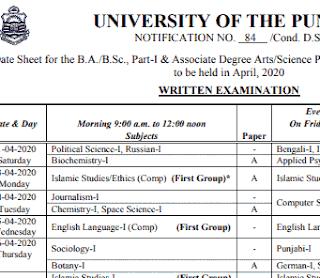 ba part 1 and ba part 2 date sheet pu 2020 pdf