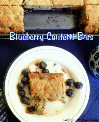 Blueberry Confetti Bars start with a mix, then add fresh fruit, jam and flavor. Mix, bake, and dessert is done. | Recipe developed by www.BakingInATornado.com | #recipe #dessert