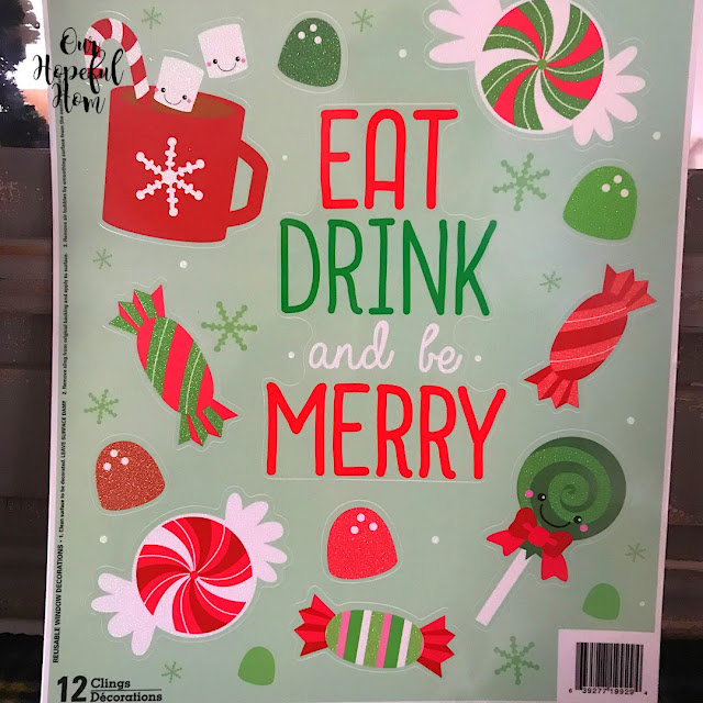 Eat Drink and Be Merry window cling Christmas decor cocoa bar