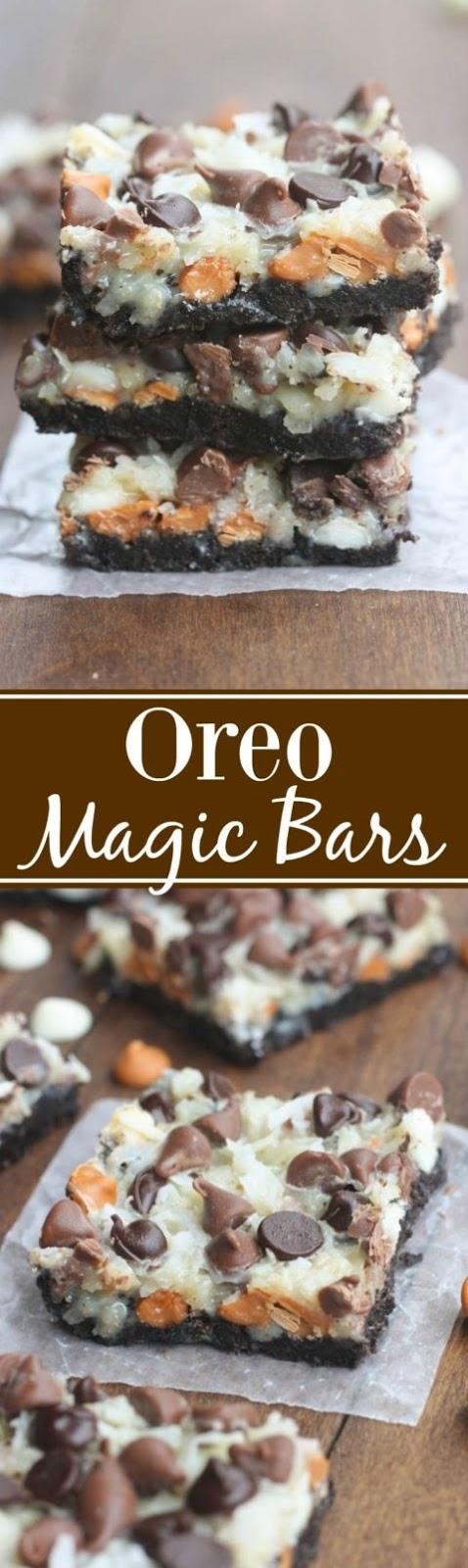 Oreo Magic Bars - Seven simple layers of Oreo chocolate bliss starting with an Oreo crust, three different types of chocolate chips, coconut and nuts. This is the EASIEST dessert, and always a party…