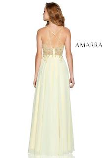 Chifoon A-Linen Prom Dress Amarra Soft Yellow Back Side