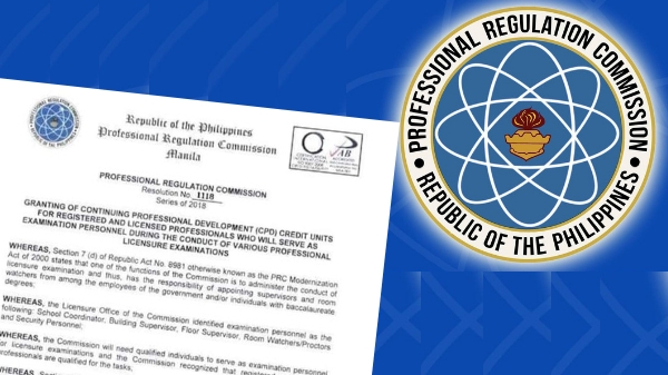 PRC grants CPD units for licensed professionals who will serve as exam personnel