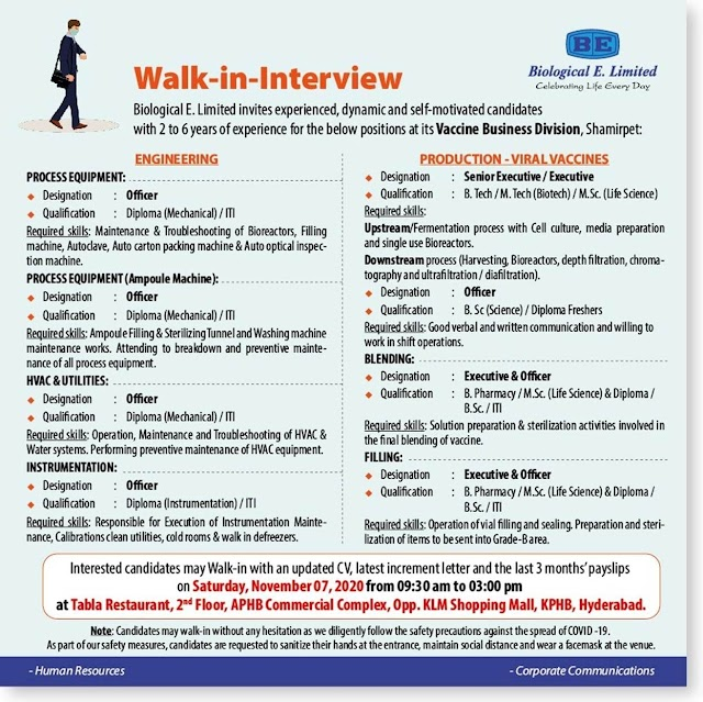 Biological E. Limited | Walk-In for Freshers & Experienced in Multiple Positions on 7th Nov 2020
