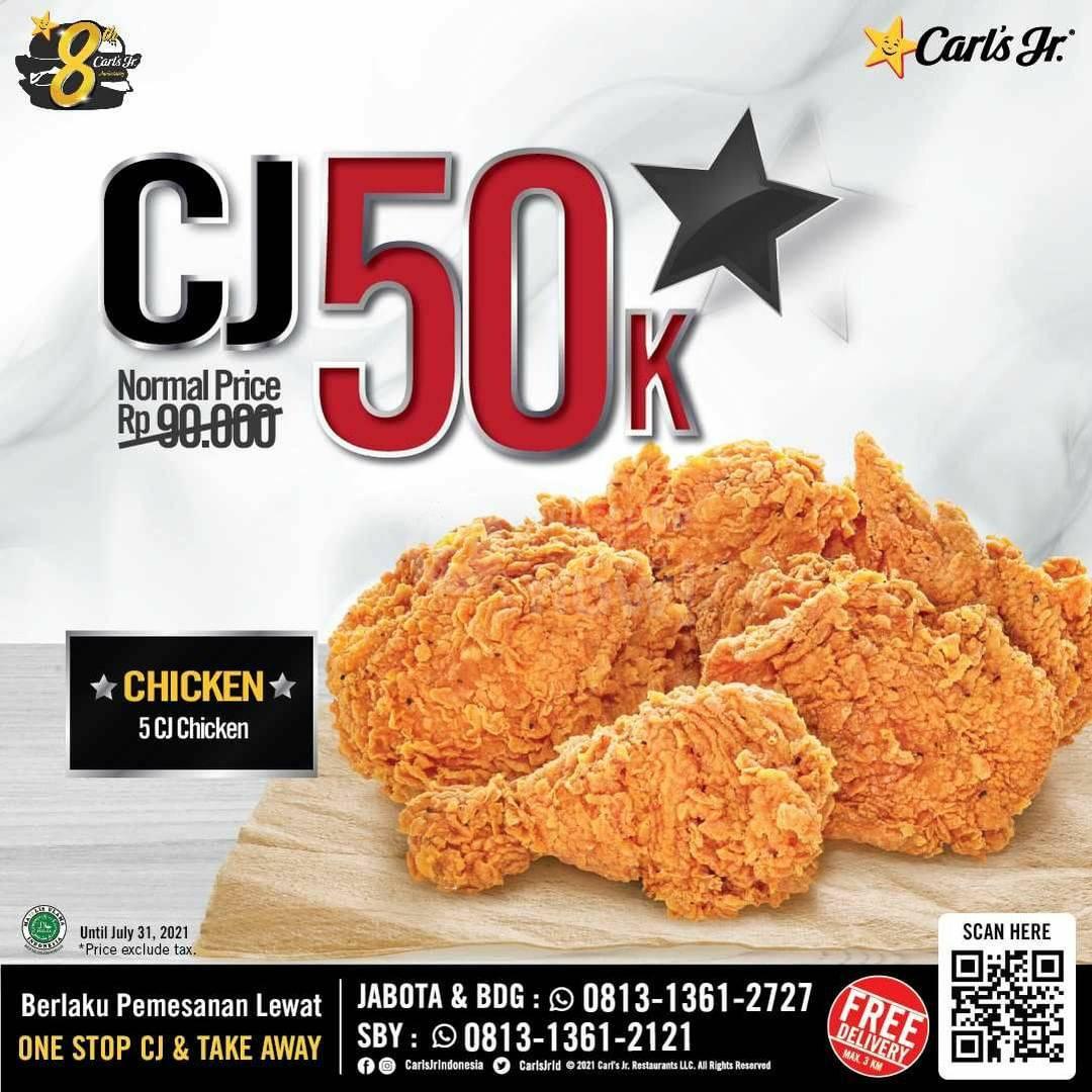 Carls Jr Promo Juicy Burger atau CJ Chicken cuma Rp. 50.000