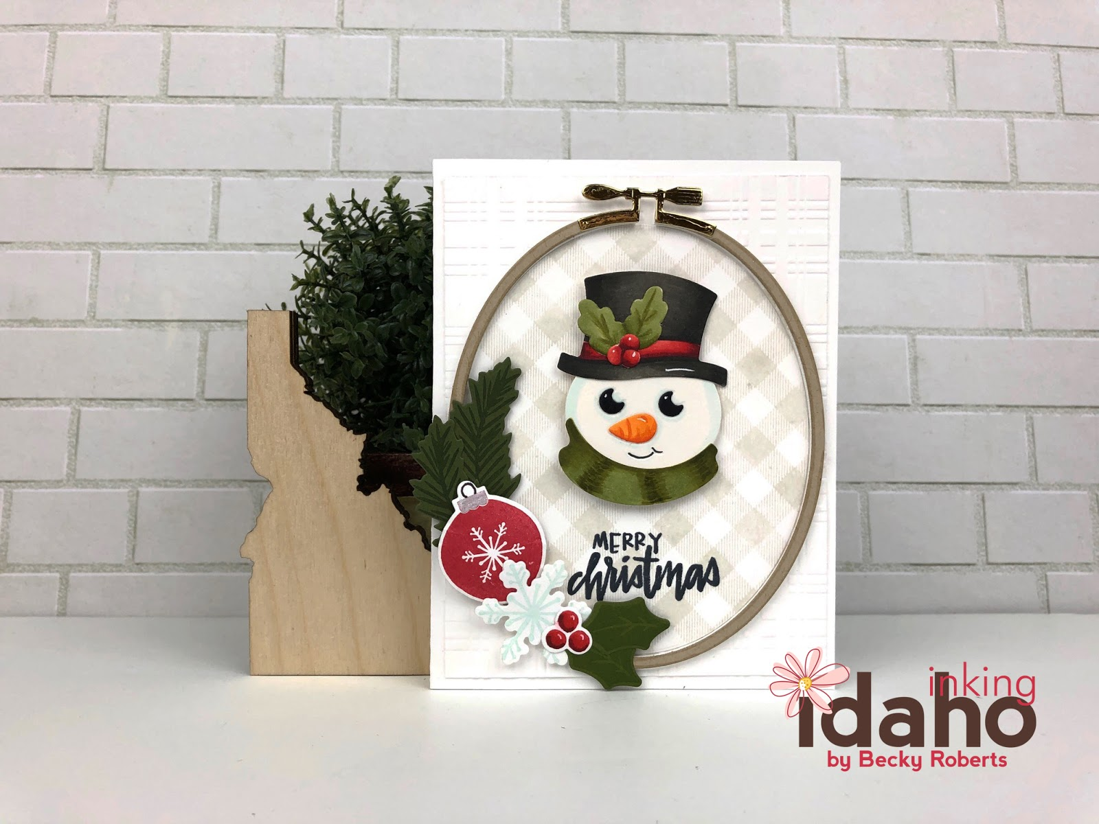 Stamp Snowman Oval Merry Christmas