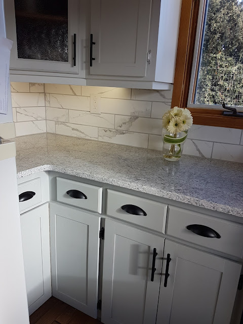 white and grey kitchen makeover with cottage paint