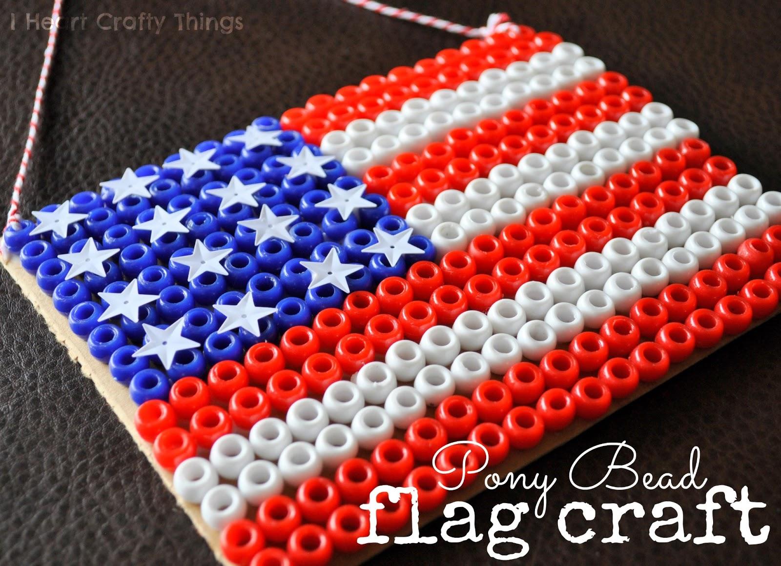 Pony Bead Flag Craft I Heart Crafty Things