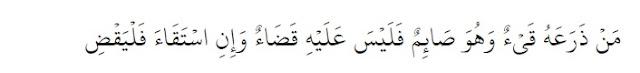 Barangsiapa yang muntah menguasainya (muntah tidak sengaja) sedangkan dia dalam keadaan puasa, maka tidak ada qadha' baginya. Namun apabila dia muntah (dengan sengaja), maka wajib baginya membayar qadha