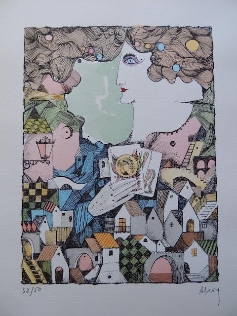 Eduard Alcoy litografía serie tarot jugando las cartas
