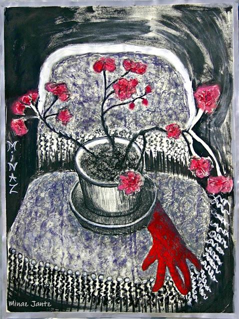 Midnight Geranium by Minaz Jantz (Pastel, Ink & Tissue)