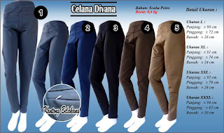 Koleksi celana scuba polos desain trendy