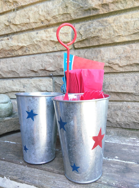 Galvanized buckets make a festive flatware caddy.