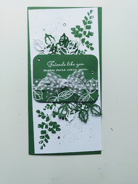 Garden Green handmade card Positive thoughts Wild rose leaves