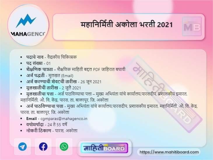 Mahagenco Akola Bharti 2021
