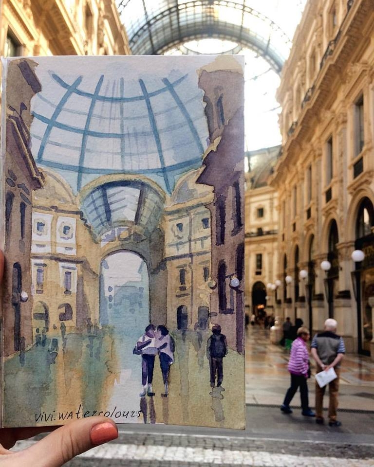 09-The-Galleria-Vittorio-Emanuele-II-Viktoria-Kravchenko-Architecture-Student-Paints-City-Scenes-Watercolors-www-designstack-co