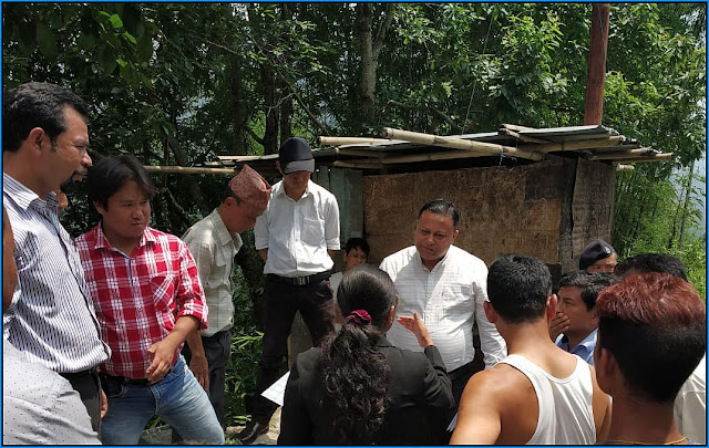 Anit Thapa GTA Chairman visited house dismantled by Cinchona officer in Mungpoo