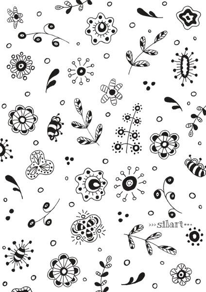 doodle pattern, floral