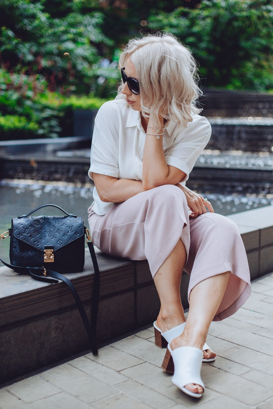 UK fashion blogger in London, louis vuitton, cropped trousers and shirt