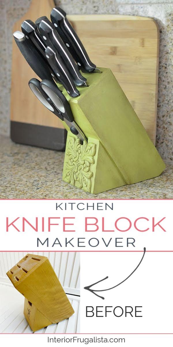 Kitchen Butcher Knife Block Makeover