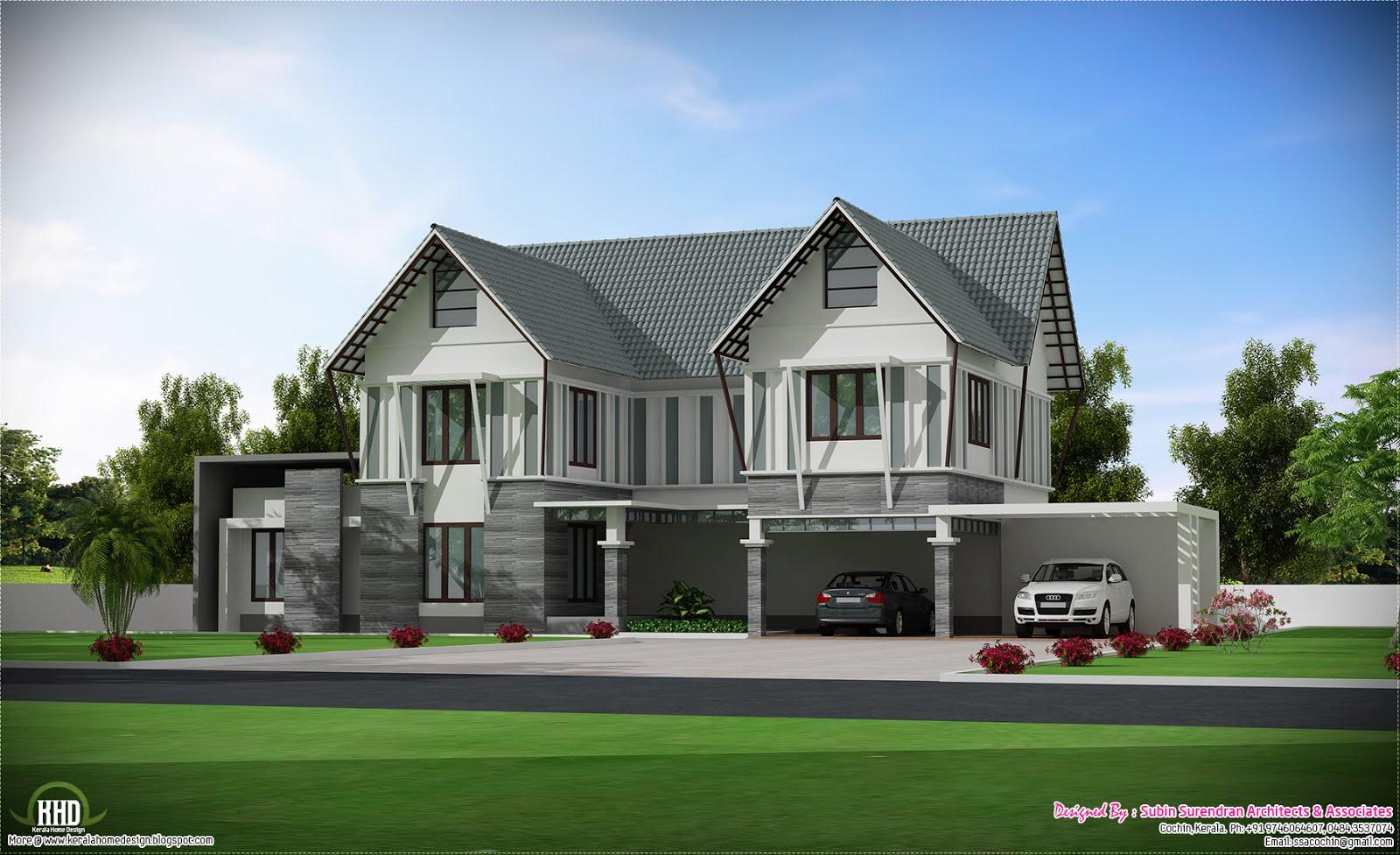 Sloping Roof Villa In 2700 Sq Feet Kerala Home Design