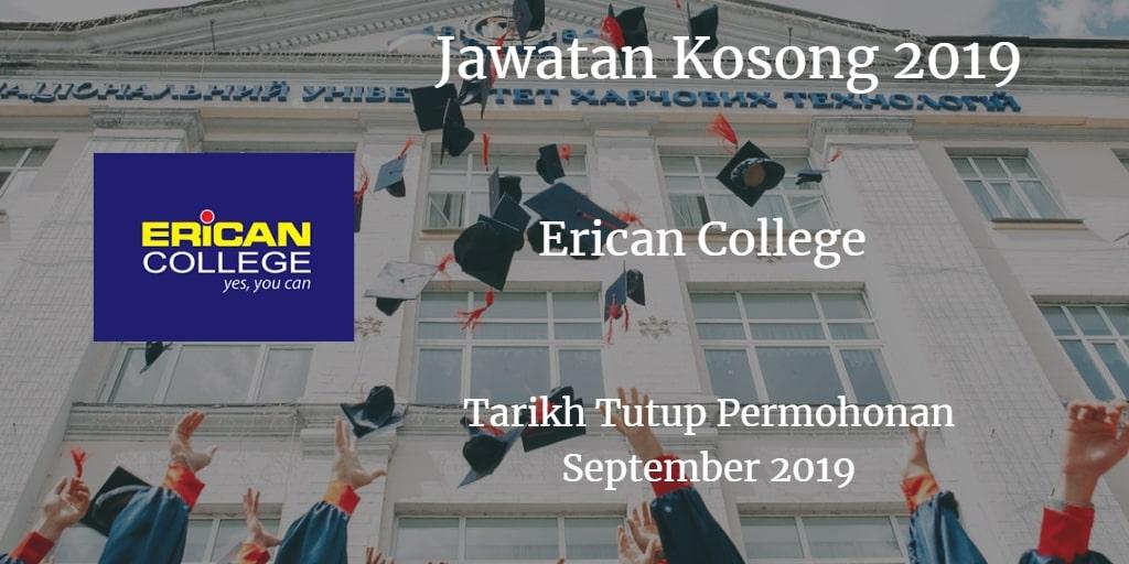 Jawatan Kosong Erican College September 2019