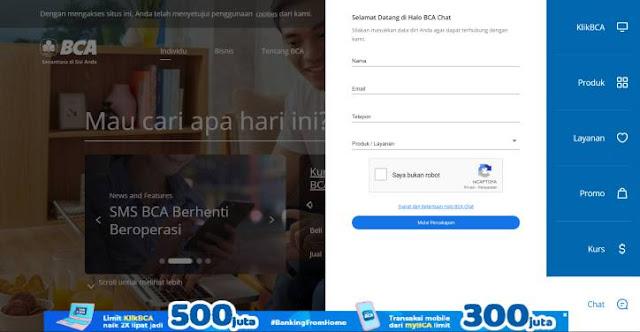 Cara hubungi Halo BCA melalui fitur chat web