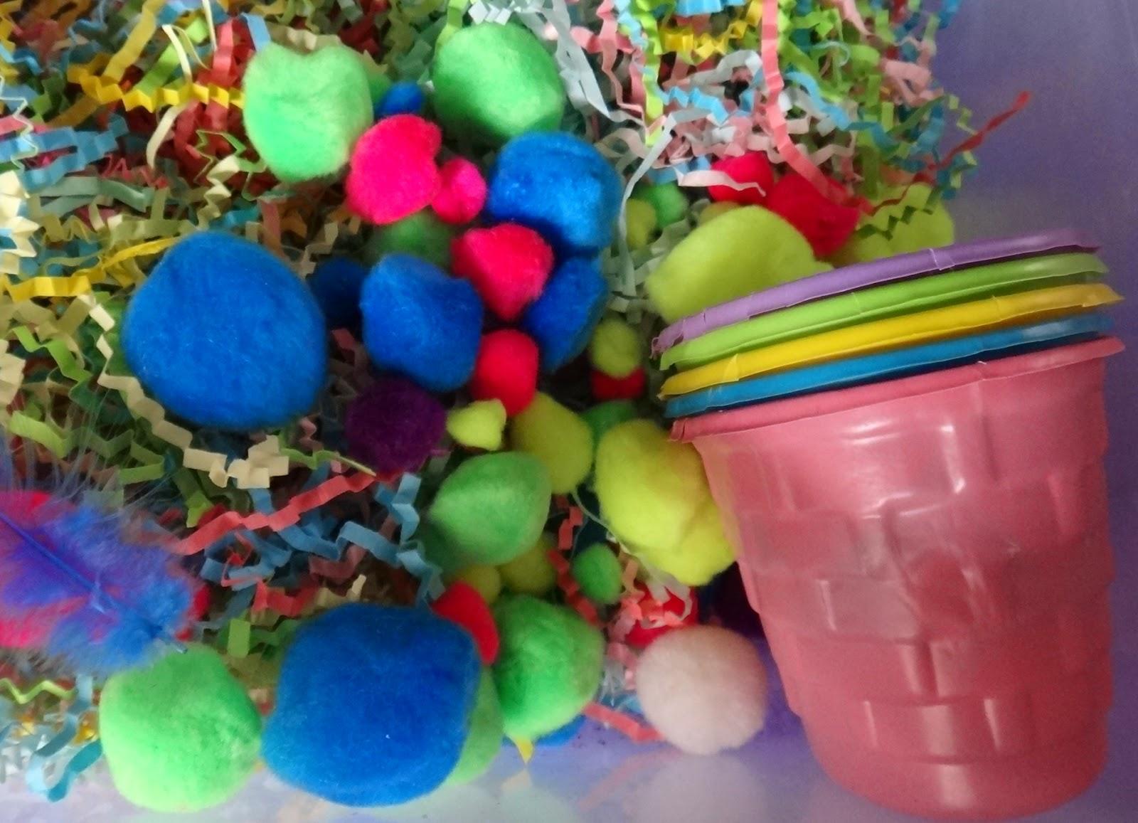 Easter sensory bin color matching pom poms